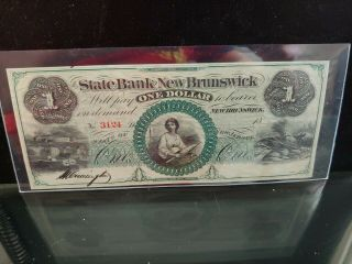 1860 $1 State Bank Brunswick Nj Color Au