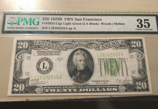 1928 B $20 Frn San Francisco Fr.  2052 Llgs Light Green Pmg Choice Vf 35
