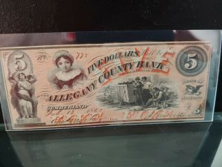 1861 $5 Allegany County Bank Cumberland Md Issued Great Color Au