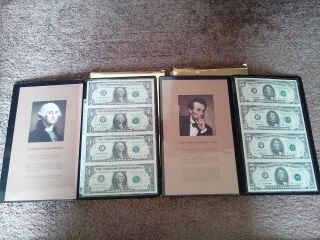 Us Commemorative Gallery Collectors Set Of Four Uncut $1 And $5 Dollar Notes