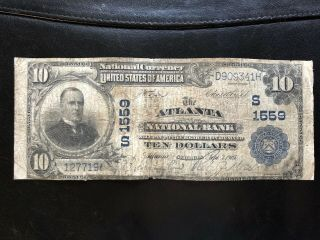 Series 1902 $10 National From The Atlanta National Bank Charter 1559