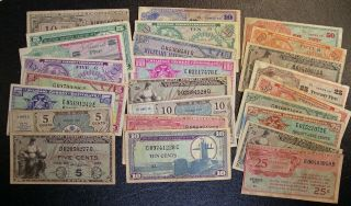 25 All Different Military Payment Certificates Mpc 5 Cent To 50 Cent