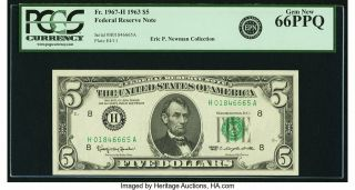 Fr.  1967 - H $5 1963 Federal Reserve Note.  Pcgs Gem 66ppq