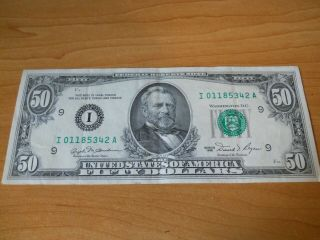 1981 (i) Minneapolis $50 Fifty Dollar Bill Federal Reserve Note Old Currency