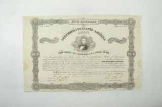 Authentic - 1862 Confederate States - Civil War $500 Bond Certificate 028