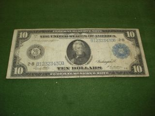 1914 $10 Large Size Federal Reserve Note Andrew Jackson - Circulated