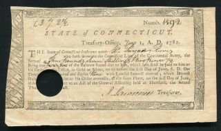 1782 3 Pounds,  7 Shillings,  2 1/2 Pence Connecticut Continental Line Army Note