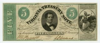 1862 Cr.  15 $5 Virginia Treasury Note - Civil War Era