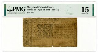Maryland Colonial Note.  April 10,  1774.  $2/9ths = 1/ -,  Fr Md - 62,  Ch.  Fine 15