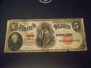 Large $5 Dollars Us Note 1907
