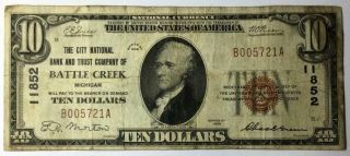 1929 $10 Battle Creek Brown Seal Note
