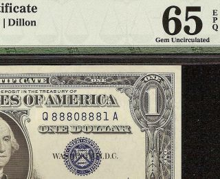 1957a $1 Dollar Near Solid 8880 8881 Ladder Silver Certificate Note Pmg 65 Epq
