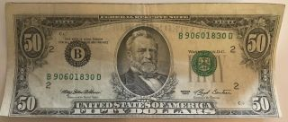 1993 Misprinted & Miscut Fifty Dollar Bill.  Federal Reserve Note.  York