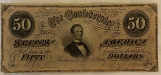 T - 66 $50.  1864 Confederate States Of America Richmond