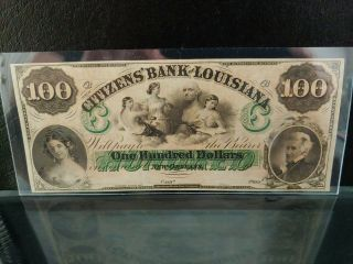 1860s $100 Citizens Bank Louisiana Orleans Gem Unc