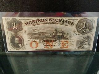 1857 $1 Western Exchange Omaha City Ne Ch Unc