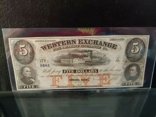 1857 $5 Western Exchange Omaha City Ne Ch Unc