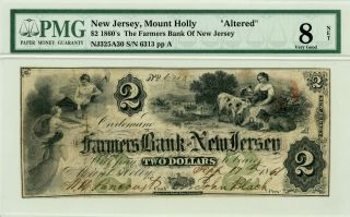 1861 $2 The Farmers Bank Of Jersey - Mount Holly,  Nj (altered) Note Pmg Vg 8