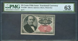 25¢ Fractional Currency Fr.  1309,  Pmg Choice Unc.  63