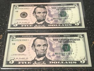 $5 Dollar Star Note Gem Low Seriel Number Low Run Rate (320k) Only Mh00263362,  3