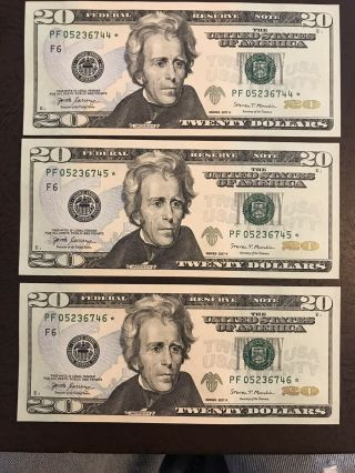 3 Consecutive 20 Dollar Bill Star Notes.  Crisp Unc From Us 2017a