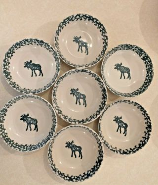 7 - Tienshan Moose Country Green Sponge Folk Craft Soup Cereal Bowls