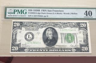 1928 B $20 Note Frn San Francisco Fr.  2052 Ldgs Dark Green (la Block) Pmg Ef 40