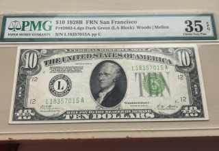 1928 B $10 Note Frn San Francisco Fr.  2002 - Ldgs Dark Green Pmg Choice Vf 35