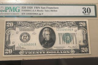 1928 San Francisco Fr 2050 - L (la Block) Pmg Vf 30 Note