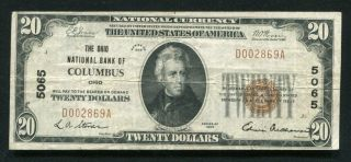 1929 $20 The Ohio National Bank Of Columbus,  Oh National Currency Ch.  5065