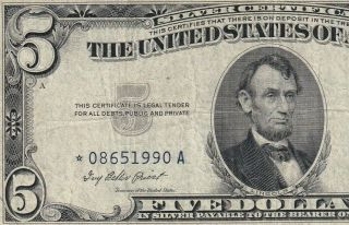 086511990a 1953 Blue Seal Silver Certificate Five Dollar Star Note In Good Con