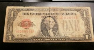 1928 $1 Red Seal Funny Back United States Note.  Note.