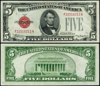 Fr.  1528 $5 1928 - C Legal Tender Non - Mule F - A Block Cu