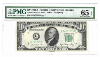 1950a $10 Chicago Frn,  Pmg Gem Uncirculated 65 Epq Banknote,  G/d Block