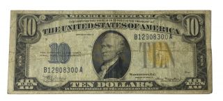 1934 - A $10 Ww2 North Africa Yellow Seal Silver Certificate Vf