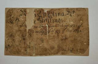 1754 Province Of North Carolina 5 Shillings Note