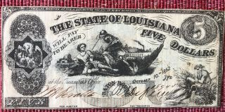 1862 $5 Five Dollars The State Of Louisiana Baton Rouge,  Confederate