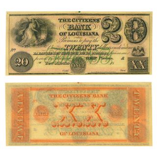 Obsolete Banknote Citizens Bank Of Louisiana Orleans $20 Cu Unissued Remaind