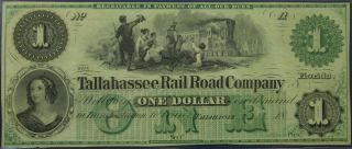 One Dollar $1 Tallahassee Rail Road Company Obsolete Remainder Banknote - Au,  ""