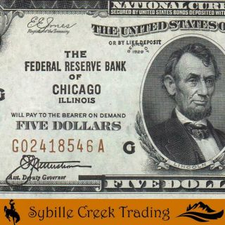 Bright 1929 $5 Chcago Federal Reserve Bank Note Frbn Fr 1850 - G 18546 - P