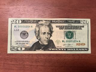 2013 Twenty Dollar Banknote $20 Ultra Low Fancy Serial Number 00000254