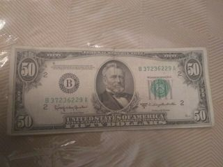 Federal Reserve Note 1950 Fifty Dollar Bill Old Currency.  Bank Of York.