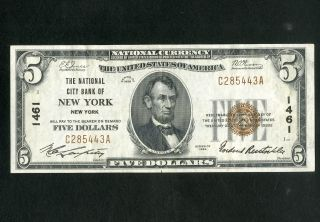 Us Paper Money 1929 $5 National City Bank Ny Charter 1461