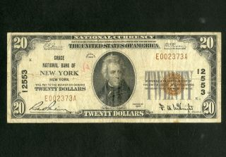Us Paper Money 1929 $20 National Grace Bank Ny Charter 12553