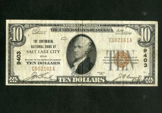 Us Paper Money 1929 $10 National Salt Lake City Ut Charter 9403