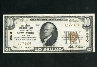 Us Paper Money 1929 $10 National Chase Bank Ny Charter 2370