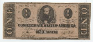 1863 Confederate States $1 Note Cs - 62 [y5633]