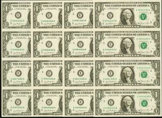 4 Uncut Sheets Of 4 $1 One Dollar Bills Paper Money Currency 1981 Richmond E