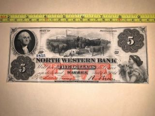Pennsylvania Banknote Currency North Western Bank Five Dollars Civil War 1861 Us