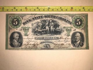 Bank Of South Carolina 1861 Civil War Banknote Currency Five Dollars Sc Usa Us
